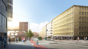 Förslaget för en bilfri Tavastväg från ungefär 2019
