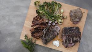Grillad lammkarré, sadel, ribs och hjärta