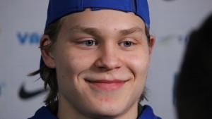 Kasper Björkqvist spelare i fjärde kedjan vid JVM.
