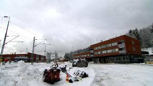 Flyktingmottagningen Rautaharkko, invid bangården i Tammerfors.