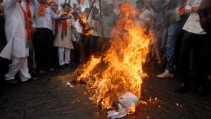 Demonstranter i Mumbai