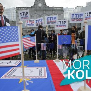 Demonstration mot frihandelsavtalet mellan EU och USA.