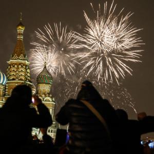 Nyårsfirande i Moskva.