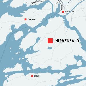 Karta över Hirvensalo i Åbo.
