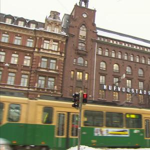 Huvudstadsbladets fasad i Helsingfors.