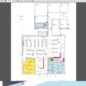 En ritning över Ingås nya bibliotek.
