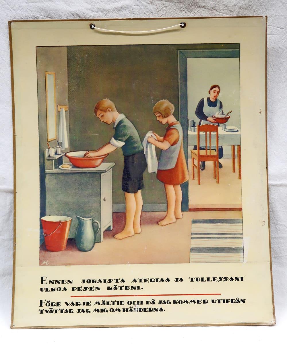 Tuberkuloosin vastustamisyhdistyksen opetustaulu, käsienpesun tärkeys.