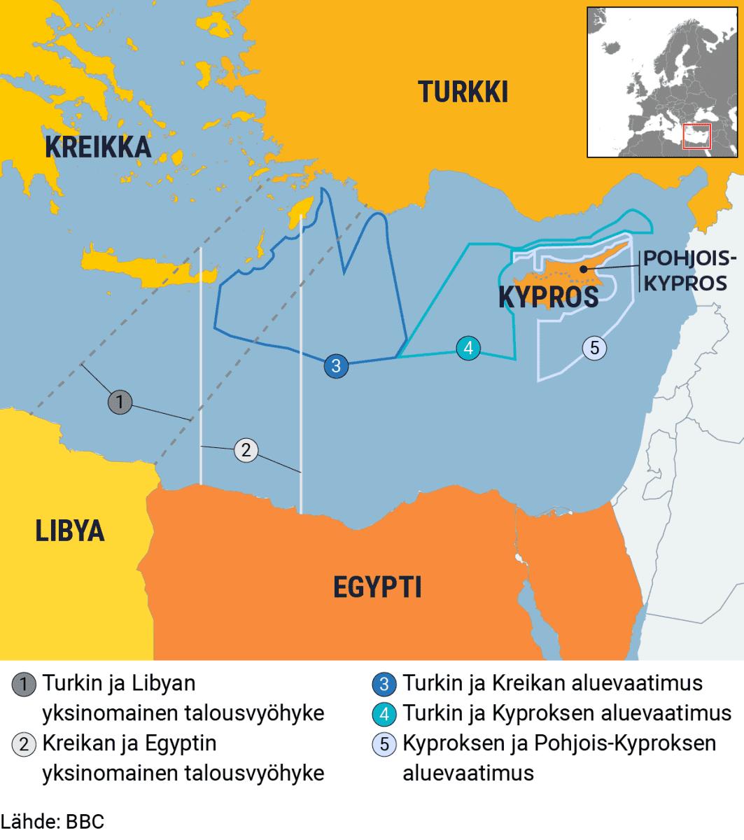 Kartta aluevaatimuksista Välimerellä.