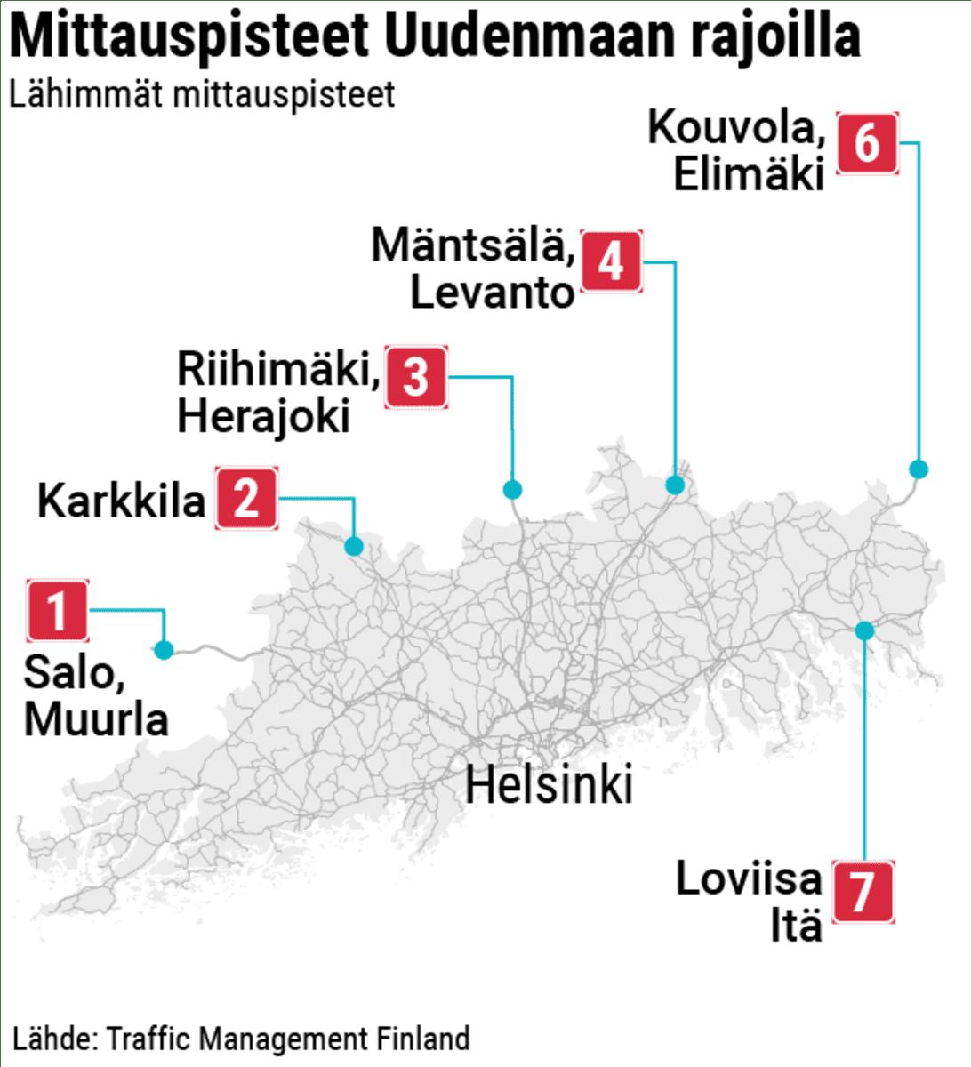 Kartta Uudenmaan rajojen lähimmistä liikenteen mittauspisteistä.