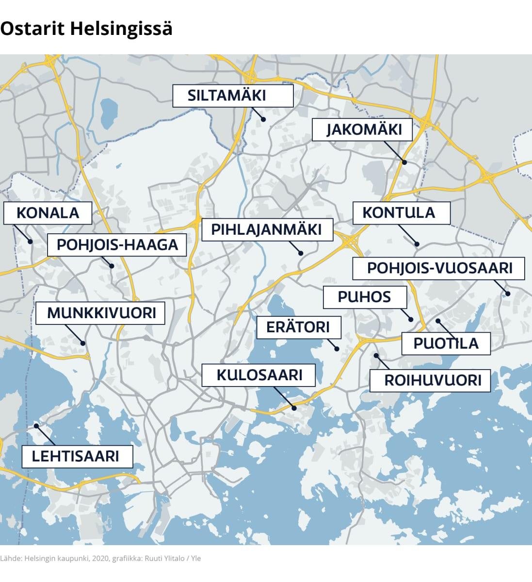 Kartalla näkyvät Helsingin ostarien sijainnit vuonna 2020.