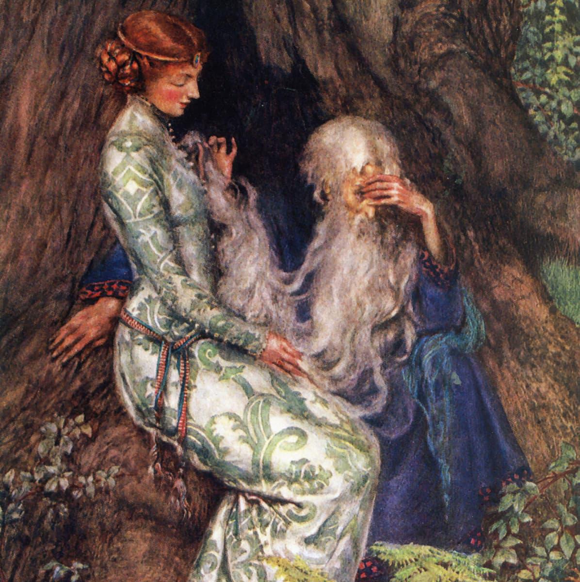 Maalauksessa punatukkainen nainen pitkässä puvussa istuu kivellä ja hyväilee eteensä kyyristyneen vanhan miehen pitkää partaa.