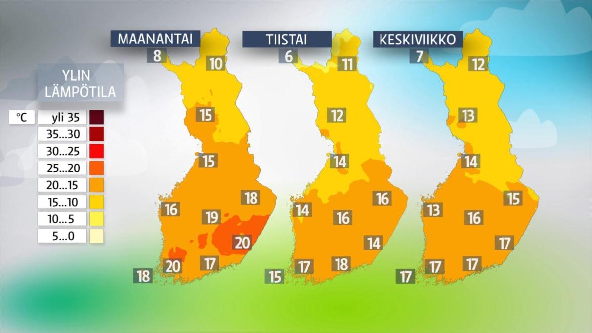 Hyvästit helteille – Viikko alkaa viilenevässä säässä, sateenvarjoakin tarvitaan   Yle Uutiset ...