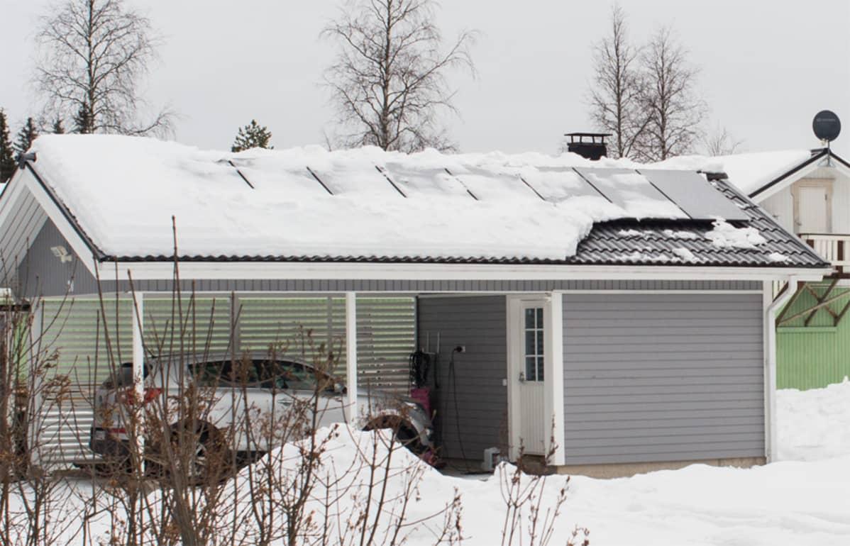 Aurinkopaneeli Talvella