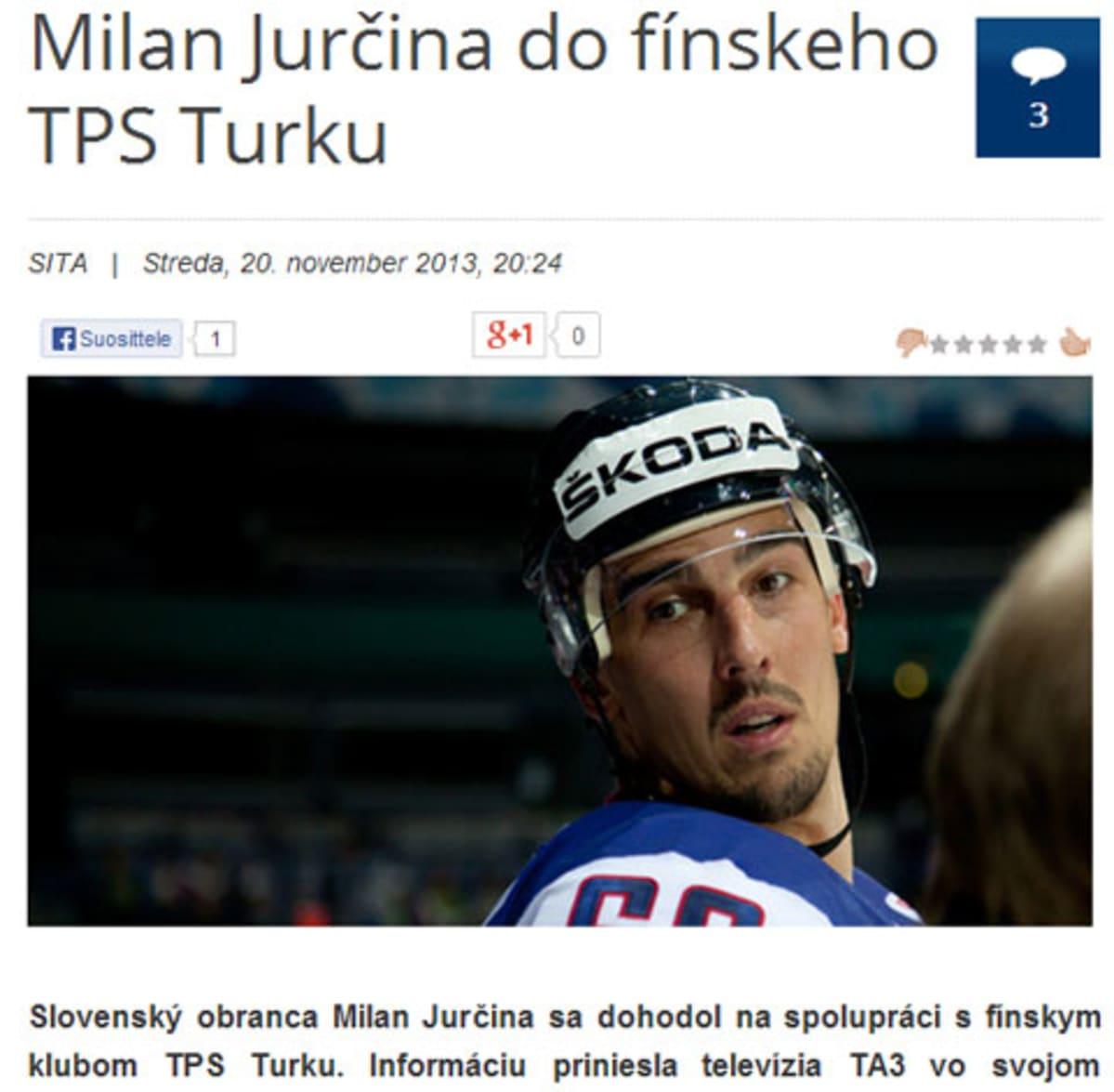 Slovakkimedia: Jurcina vahvistaa TPS:aa | Yle Urheilu | yle.fi