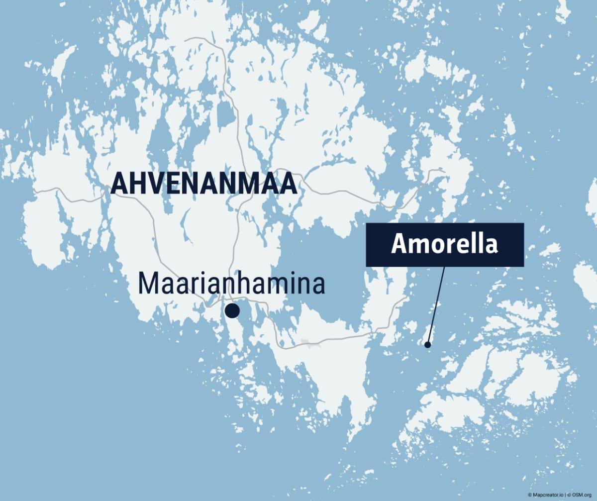 Viking Amorellan sijainti Ahvenanmaan kartalla