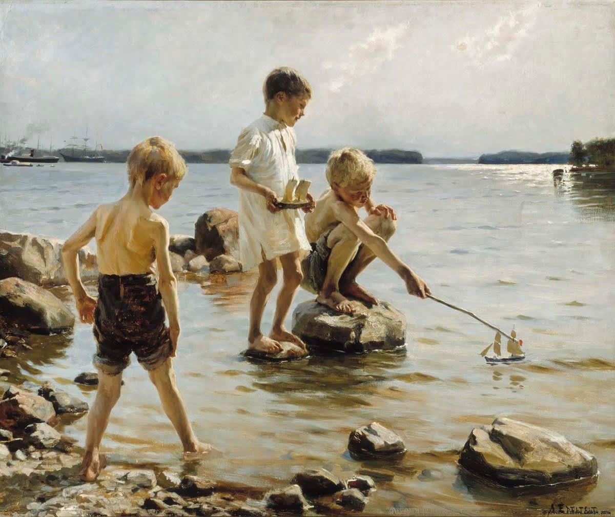 Albert Edelfeltin teos Leikkiviä poikia rannalla (1884).