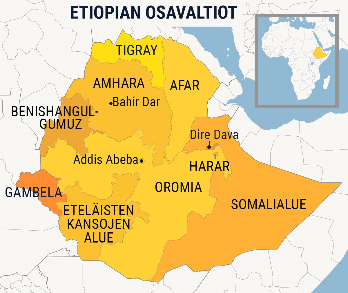 Kartta missä Etiopian osavaltiot