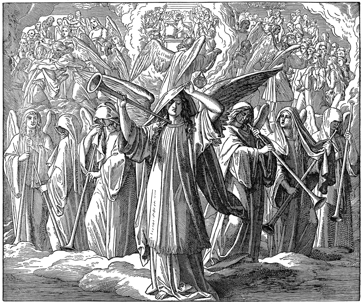 Kuvitus katolisesta kuvaraamatusta Book of Revelation 8,1;2, New Testament, Catholic Picture-Bible The seventh seal of the book, Lamb opening of seven seals
