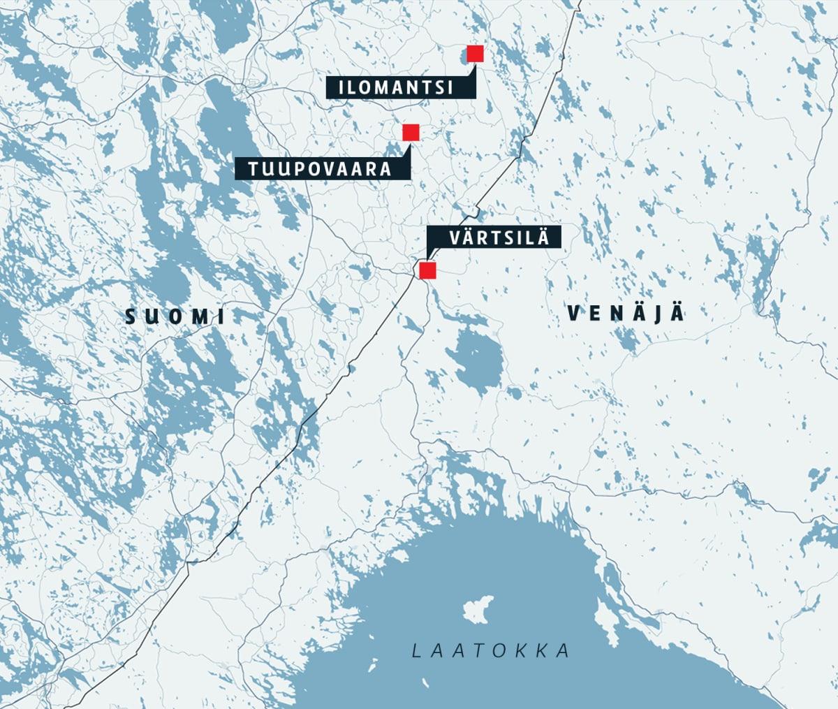 Kartta susien liikkumisesta Venäjän ja Suomen rajalla