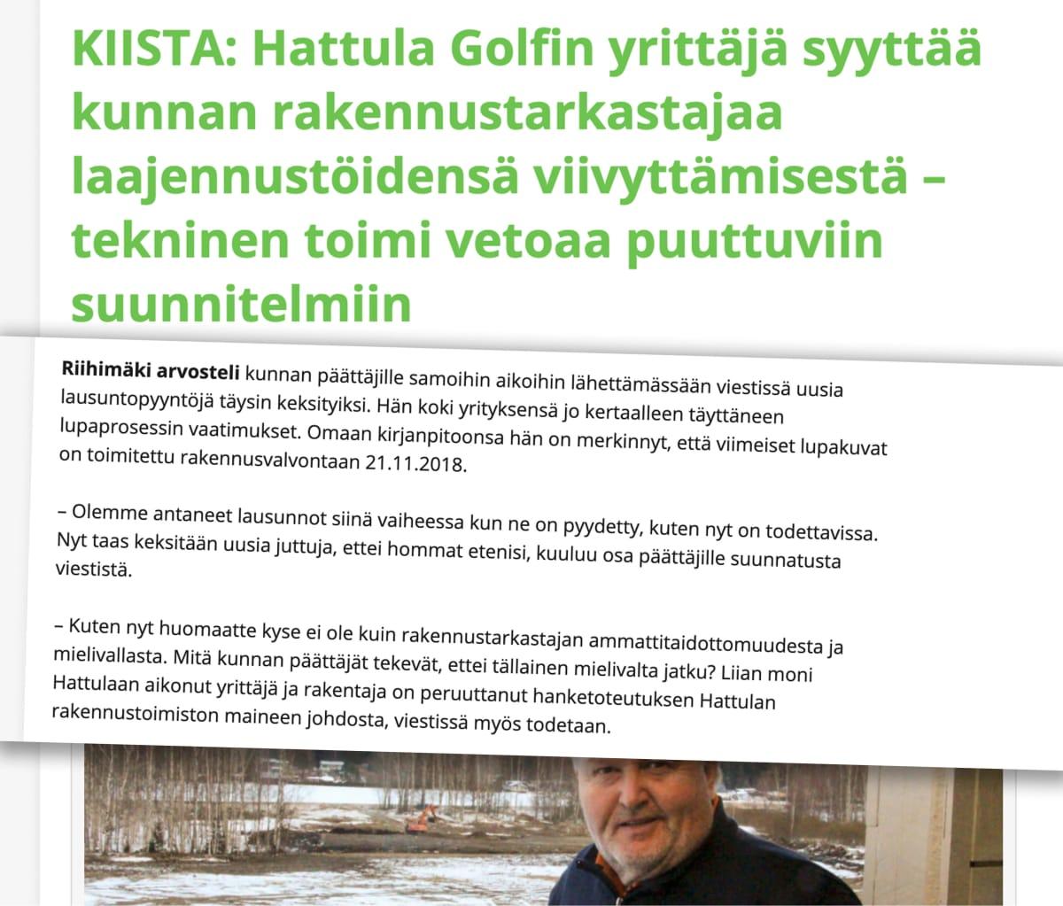 Kuvakaappaus Hattulaan.fi-julkaisusta