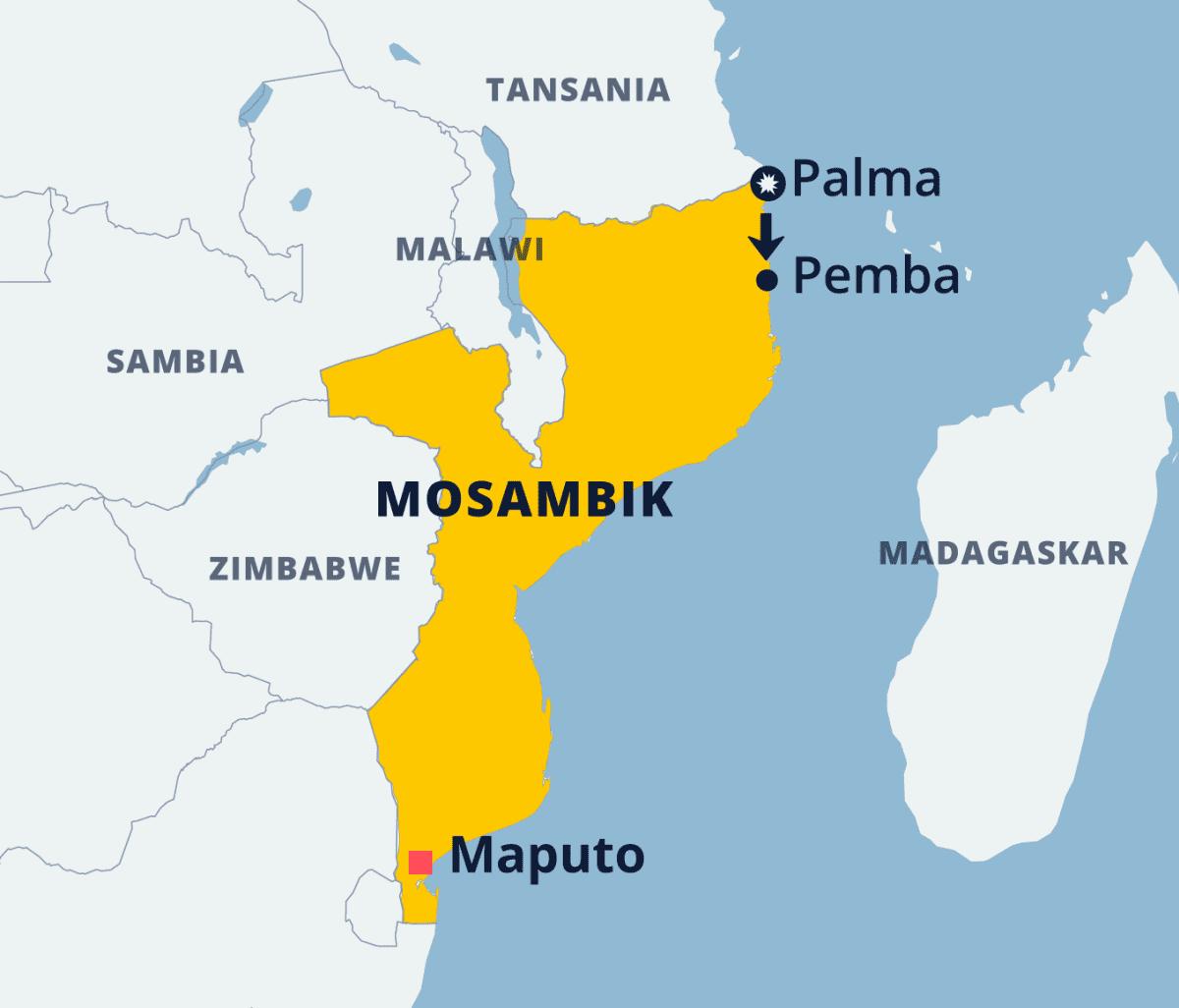 Karttagrafiikka Mosambikista