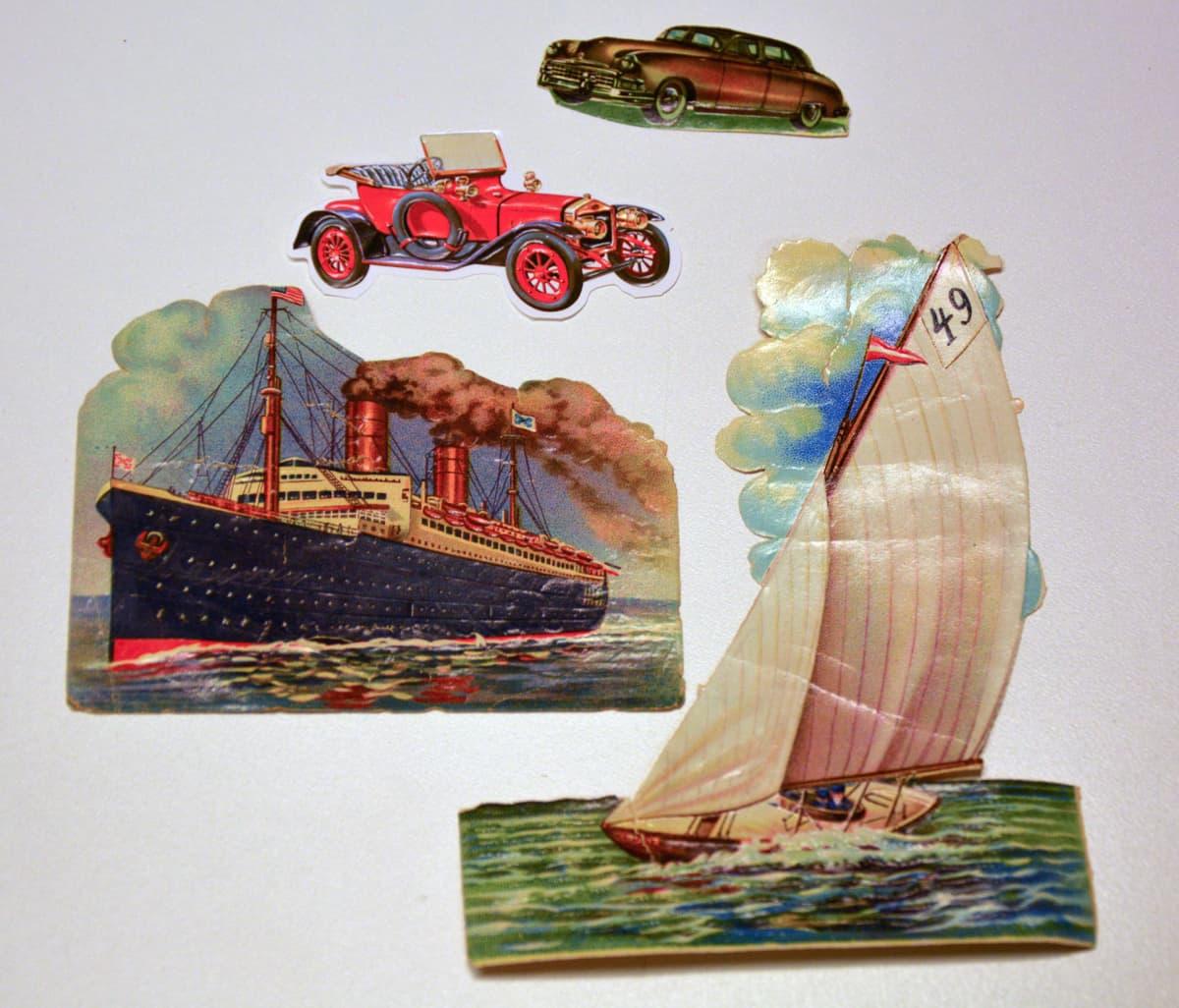 kiiltokuvia auto ja laiva