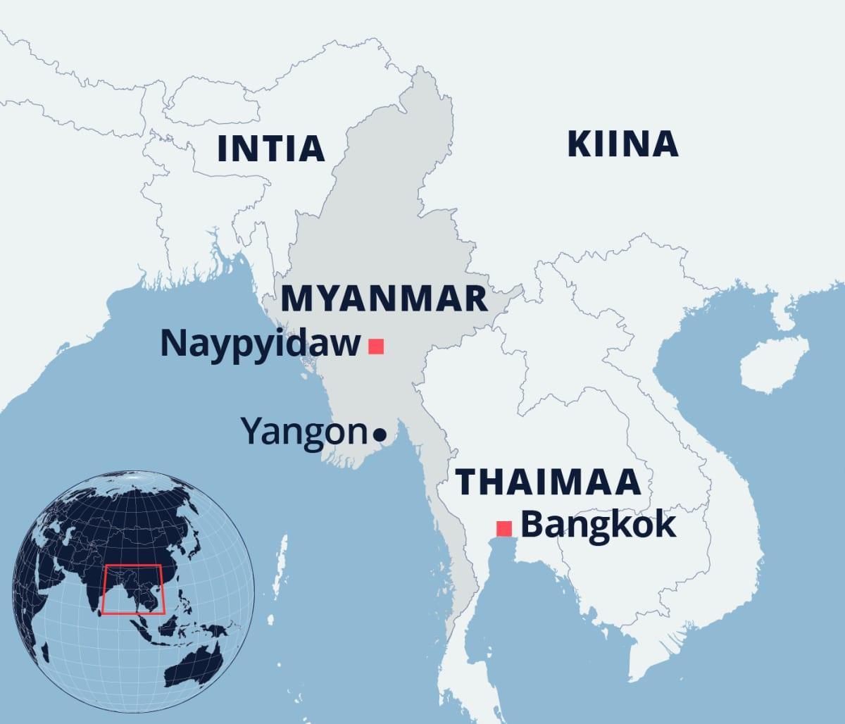 Kartta Myanmarin sijainnista Aasiassa.