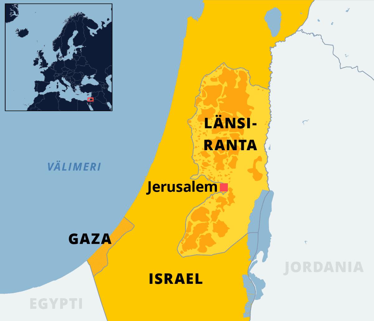 Kartalla Israel, Länsiranta ja Gaza.