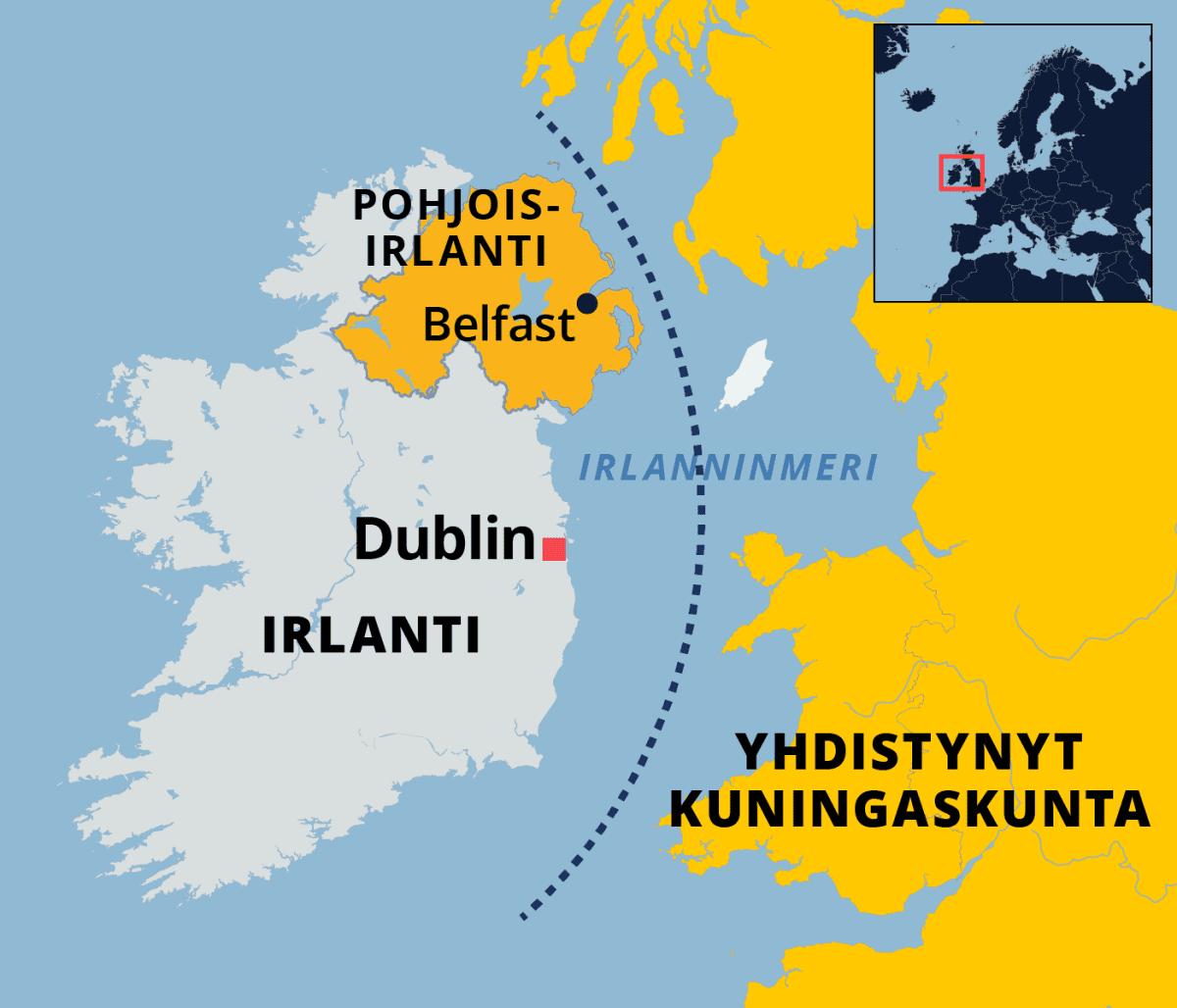 Kartta Pohjois-Irlannista ja Irlanninmerellä olevasta Irlannin ja Yhdistyneen kuningaskunnan välisestä merirajasta.