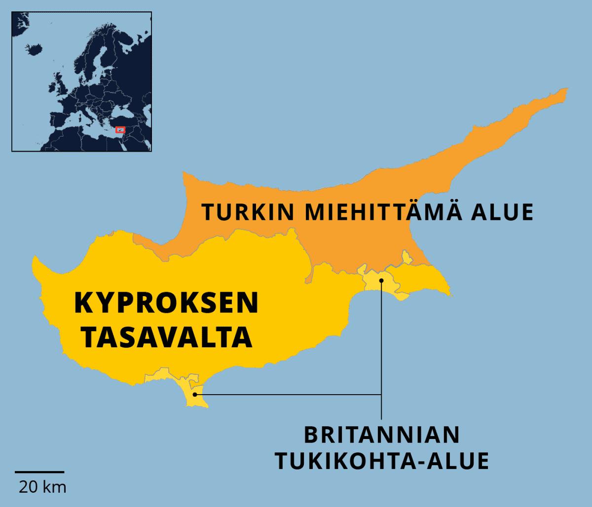 Kartta Kyroksen jaetuista alueista.
