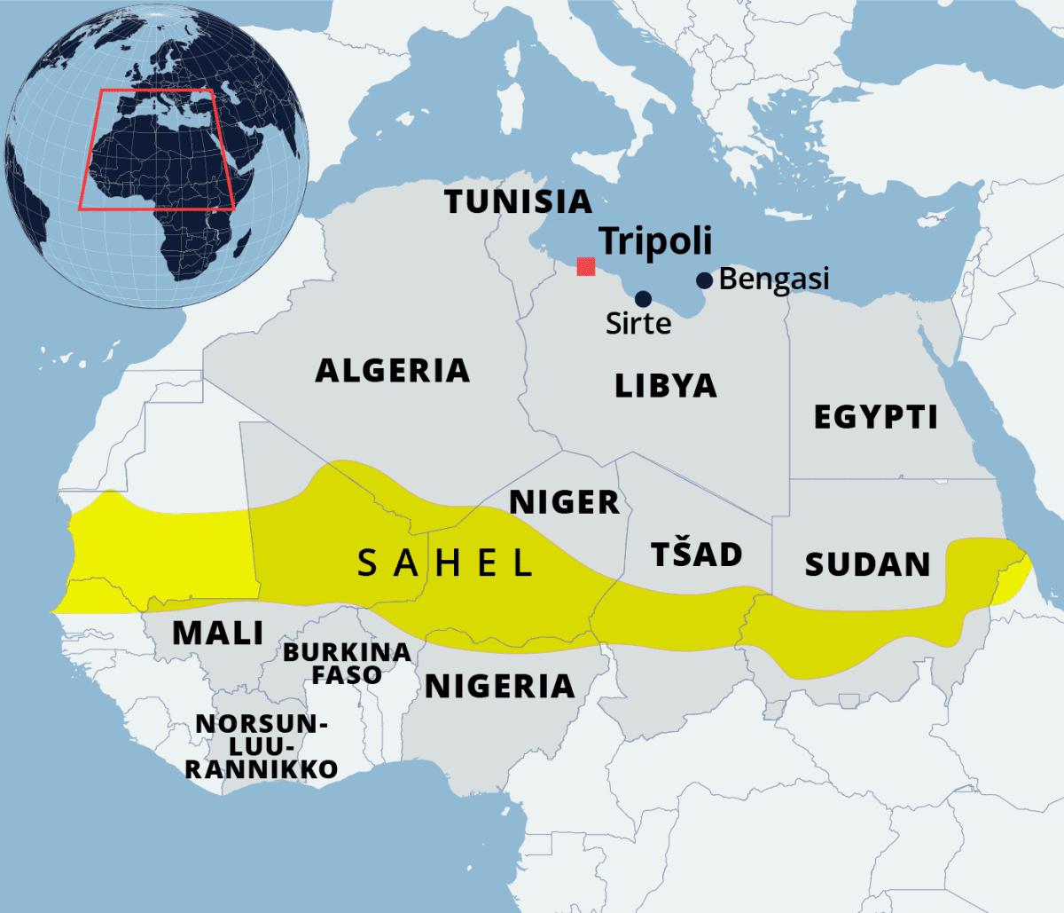Kartalla Pohjois-Afrikan valtioita ja Sahelin autiomaa.