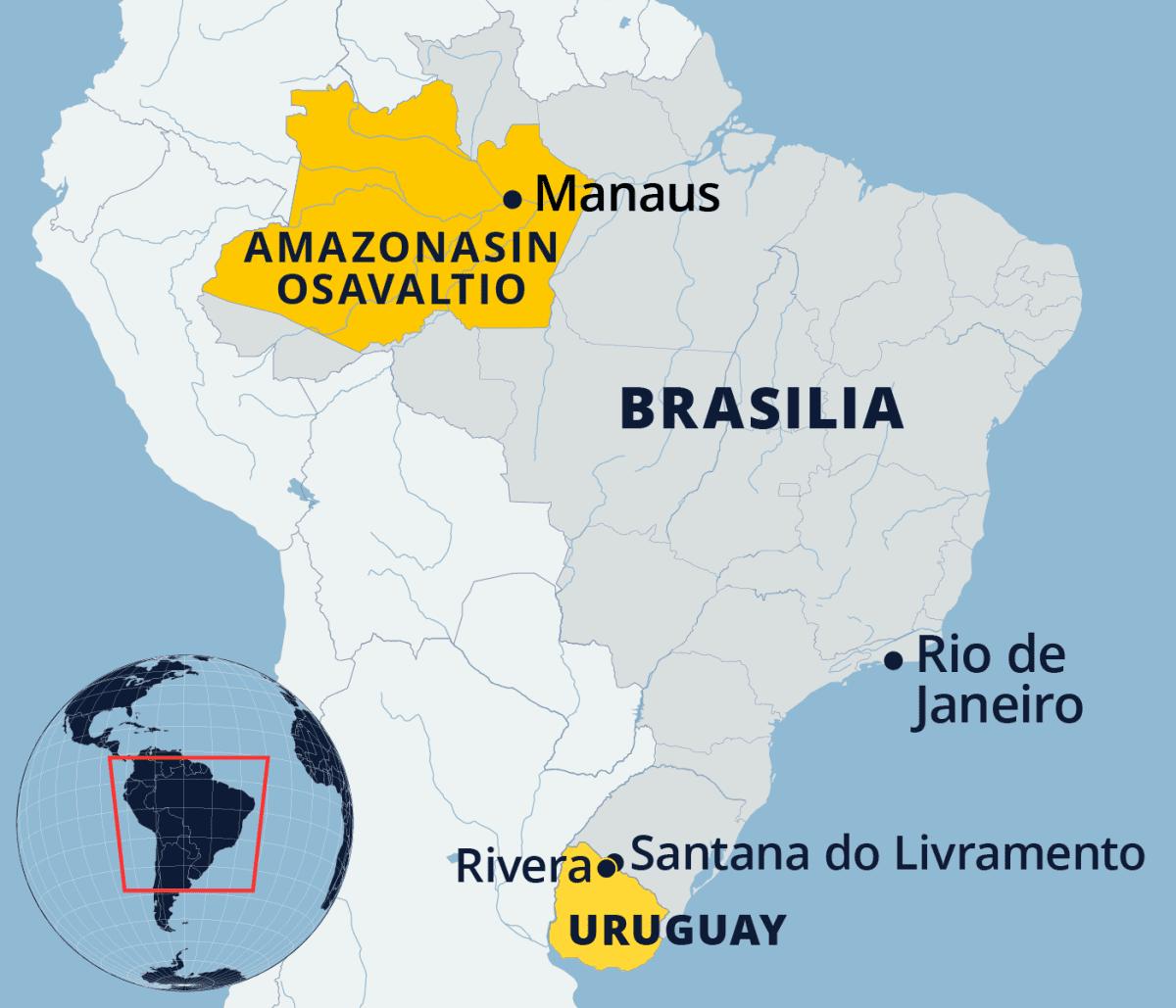 Kartta Brasiliasta.