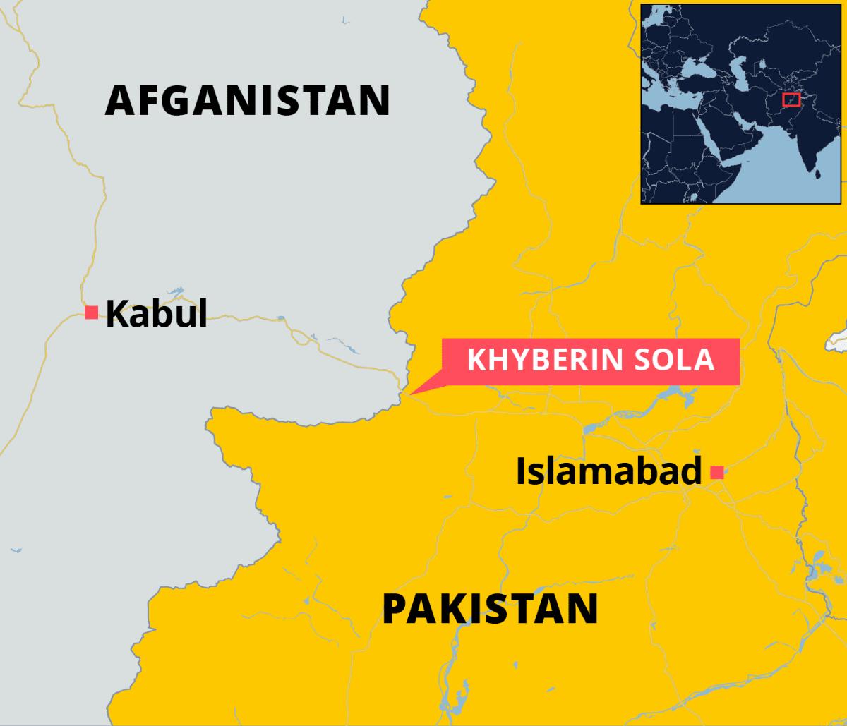 Kartalla Khyberin sola Afganistanin ja Pakistanin rajalla.