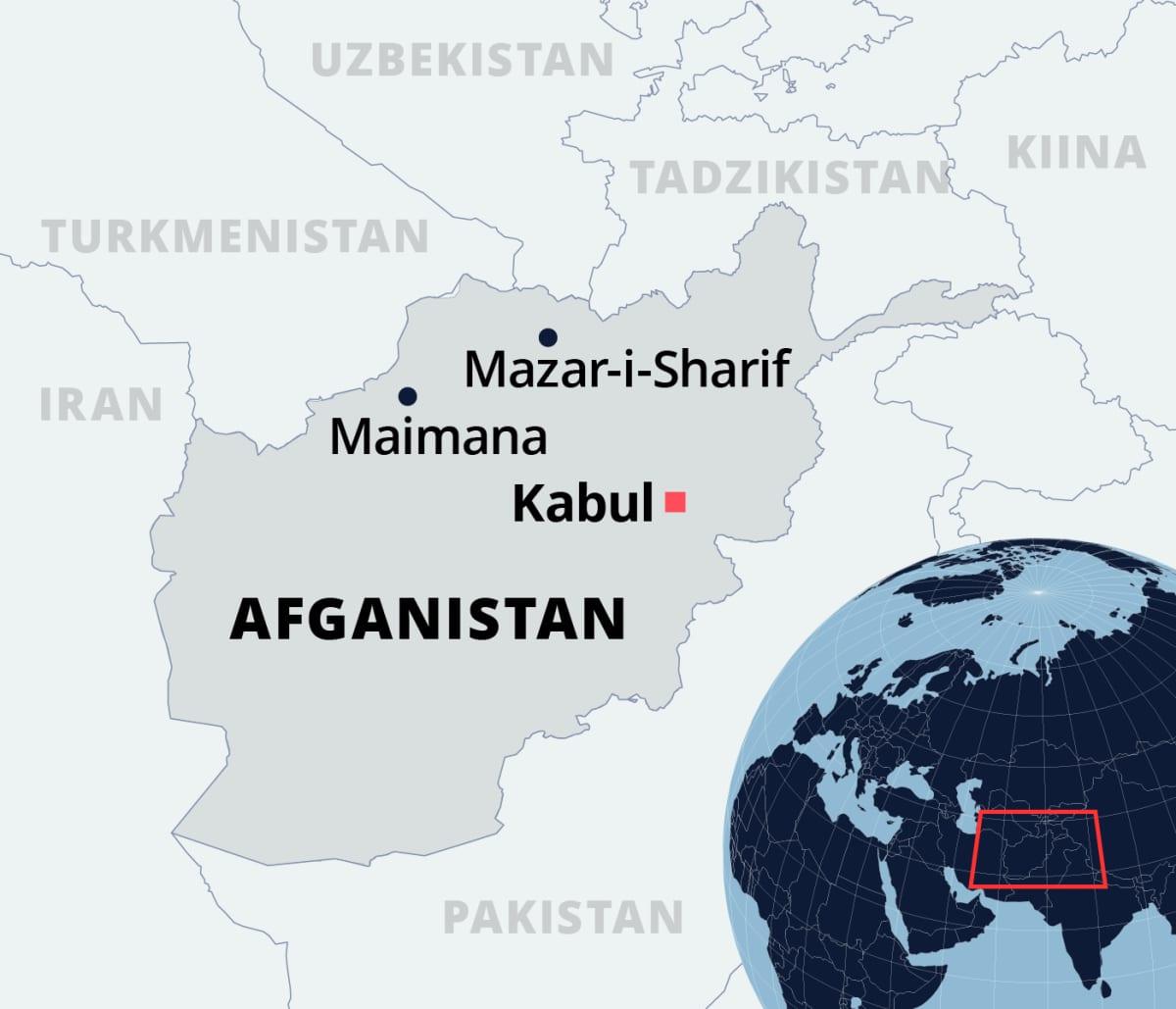 Kartta Afganistanista.