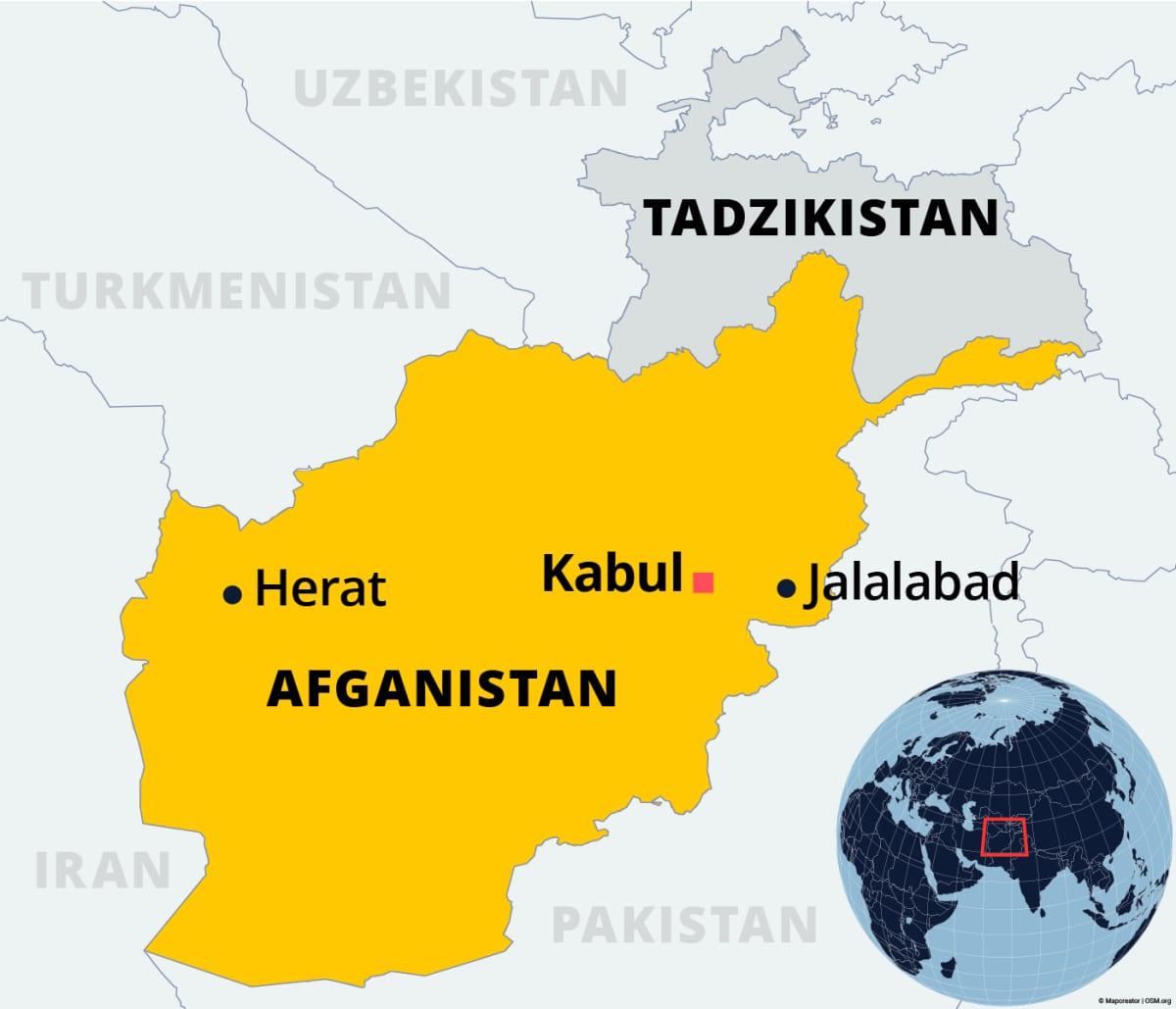 Kartalla Afganistan ja Tadzikistan.