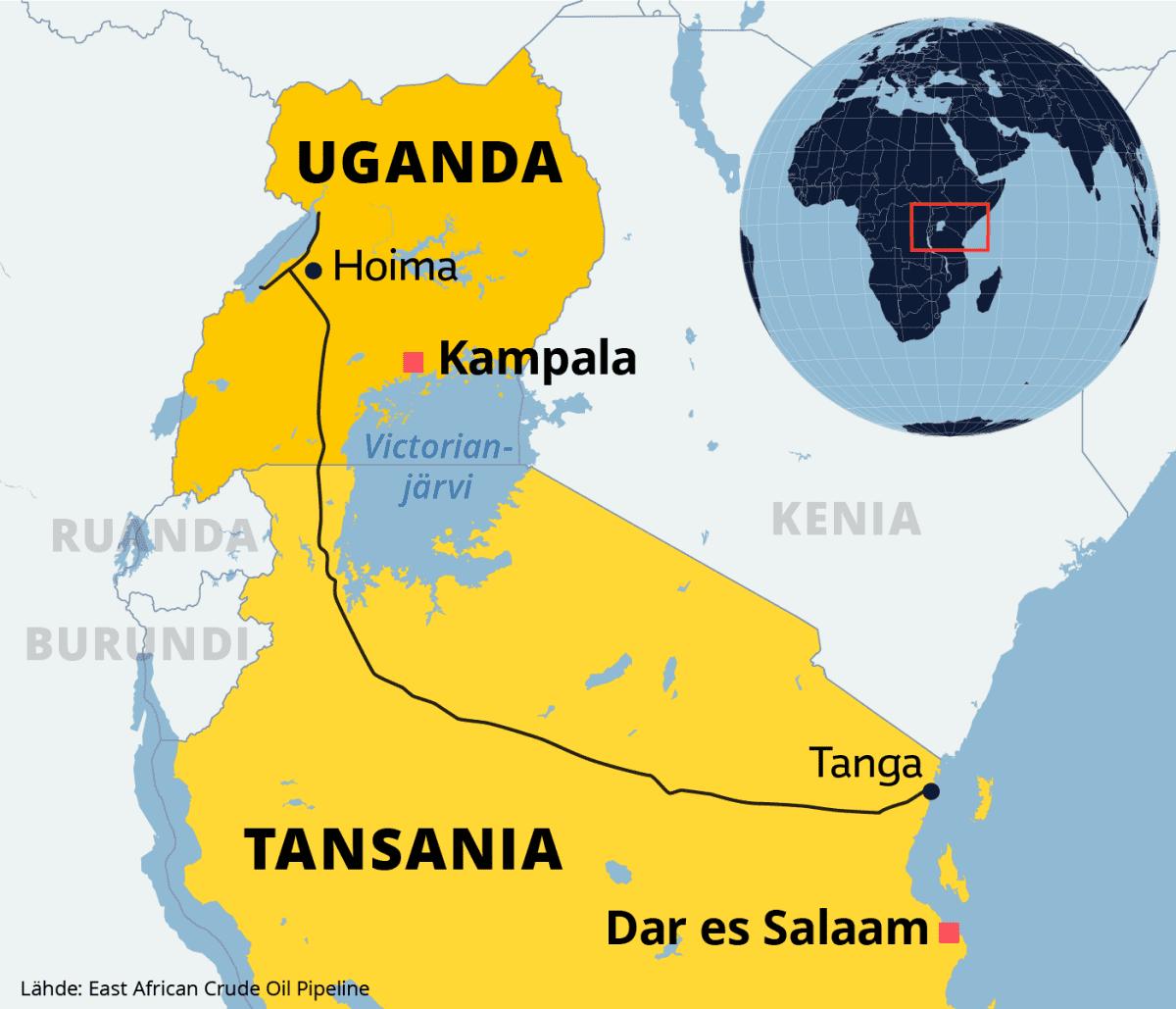 Kartalla öljyputken reitti läpi Ugandan ja Tansanian.
