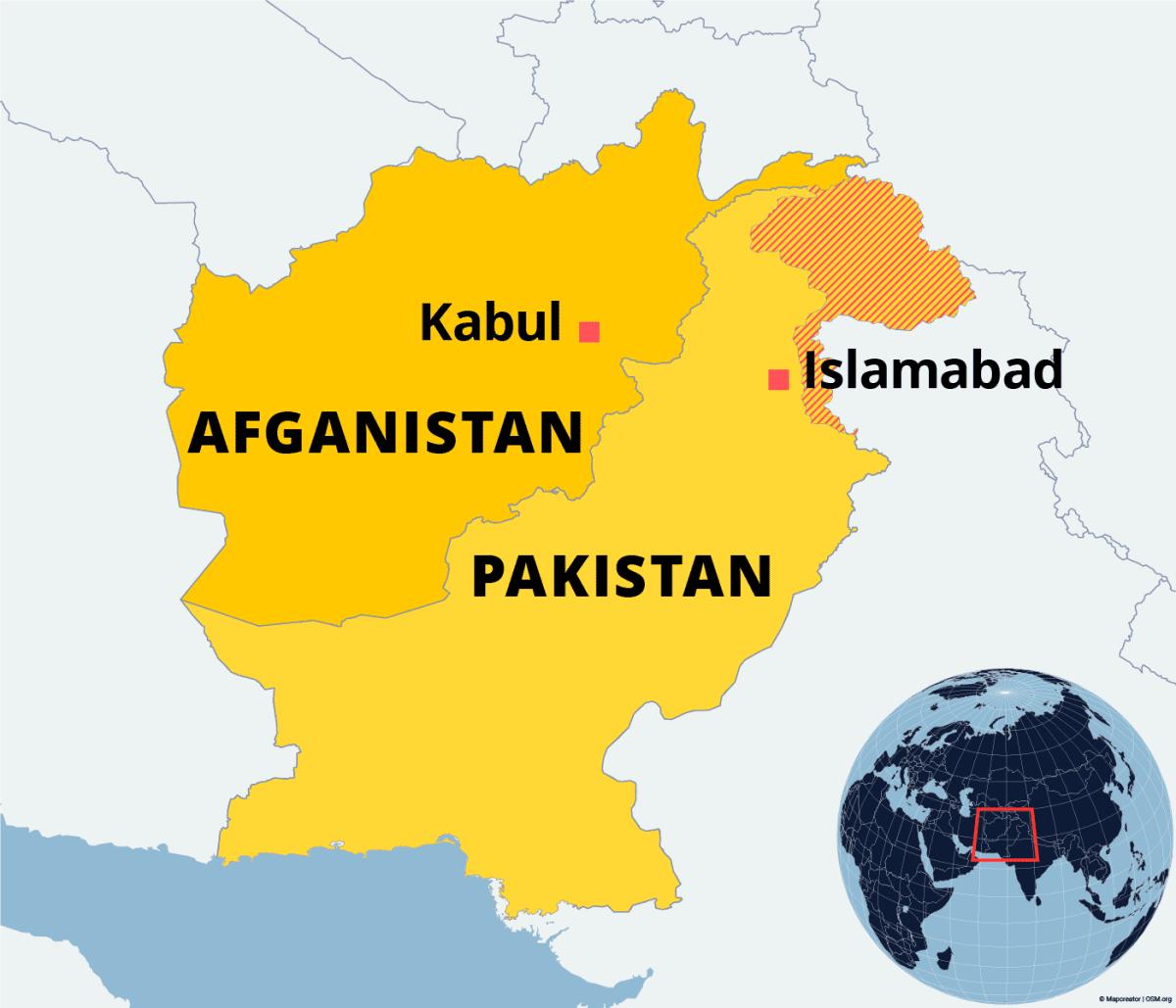 Kartalla Afganistan ja Pakistan.
