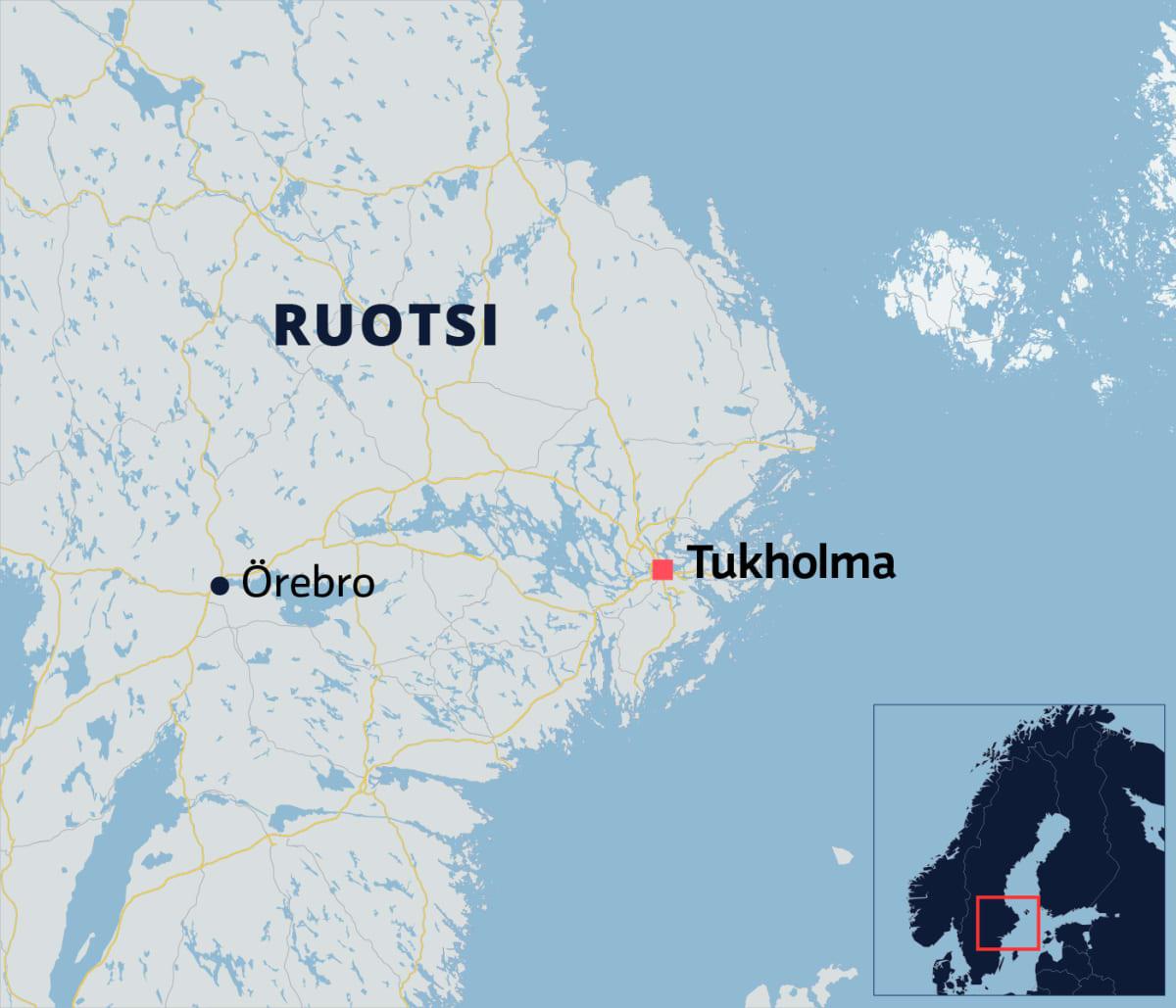 Kartalla Örebron kunta Ruotsissa.