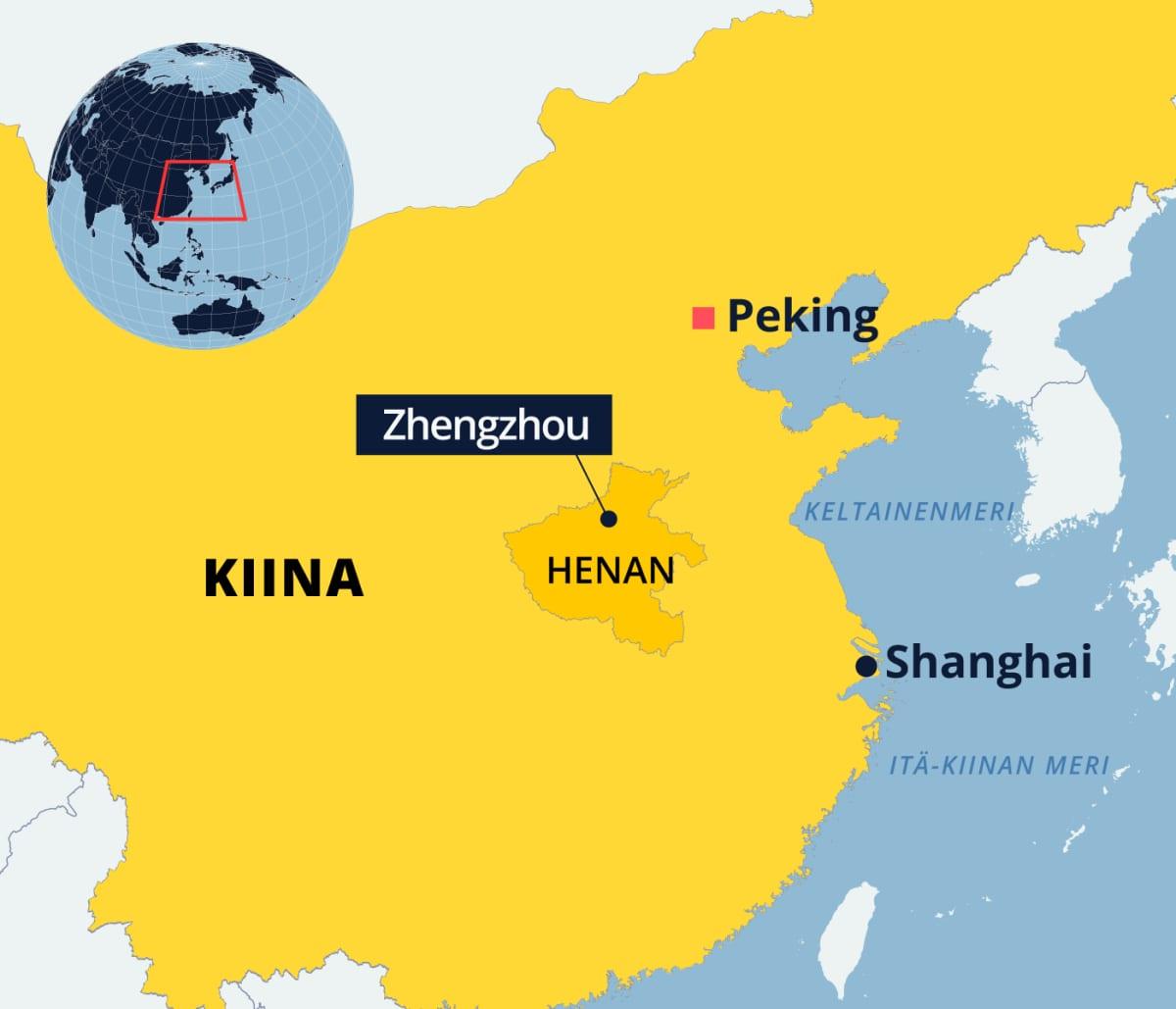 Kartta Kiinasta, Henanin maakunnasta.