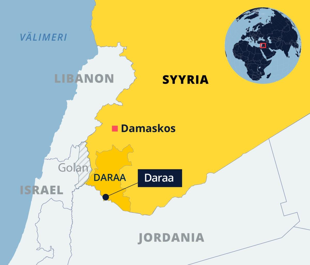 Kartta Syyriasta ja Daraan maakunnasta ja kaupungista.
