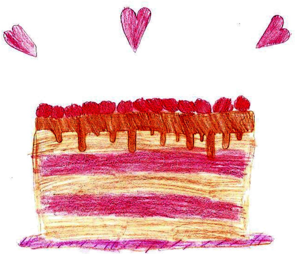 Lapsen piirtämä punainen täytekakku, jonka yläpuolella on kolme sydäntä.