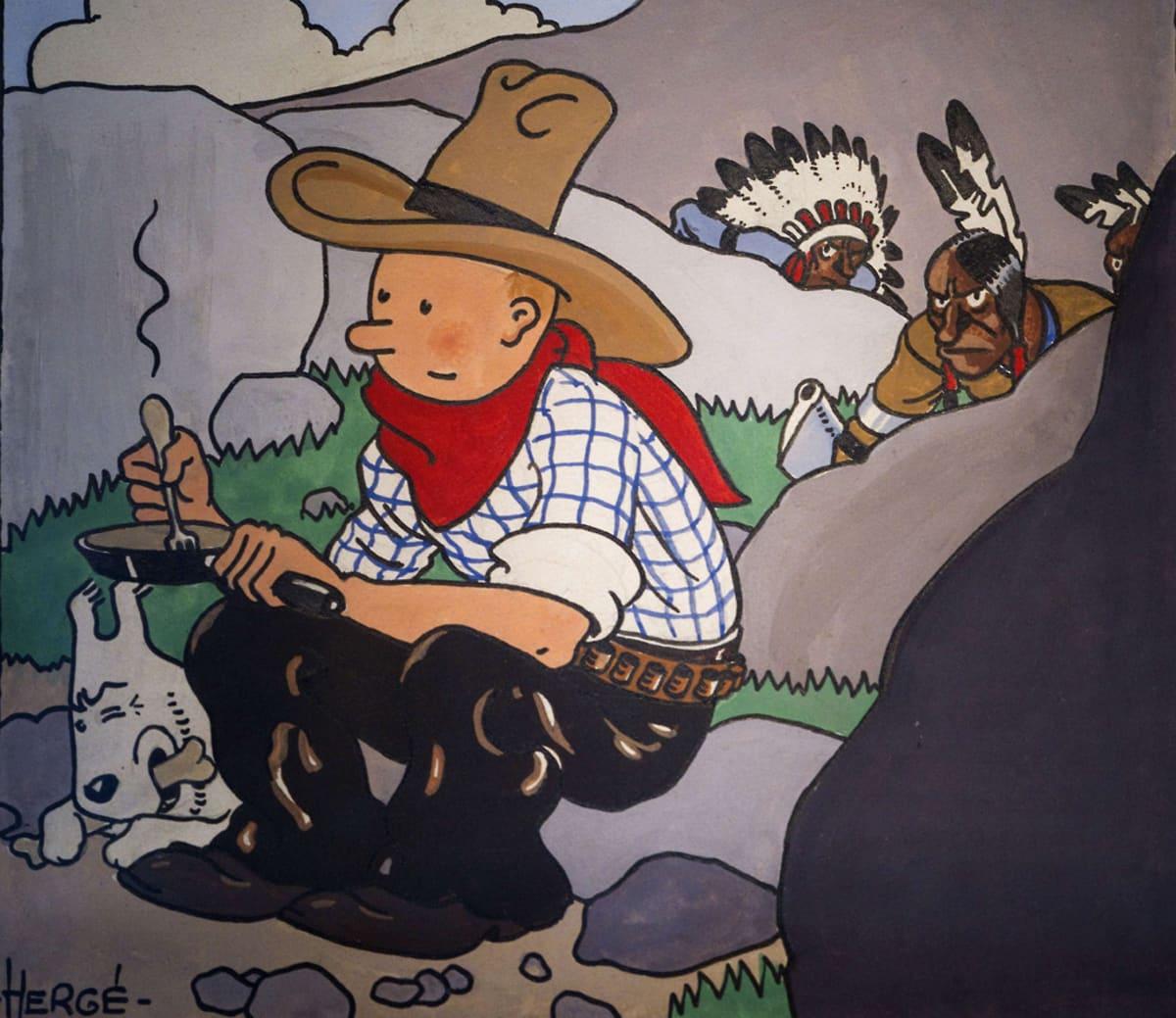 Piirros, joss cowboy-asuinen Tintti istuu kivellä Milou-koira rinnallaan ja heidän takanaan hiipii kirveillä aseistautuneita intiaaneja.