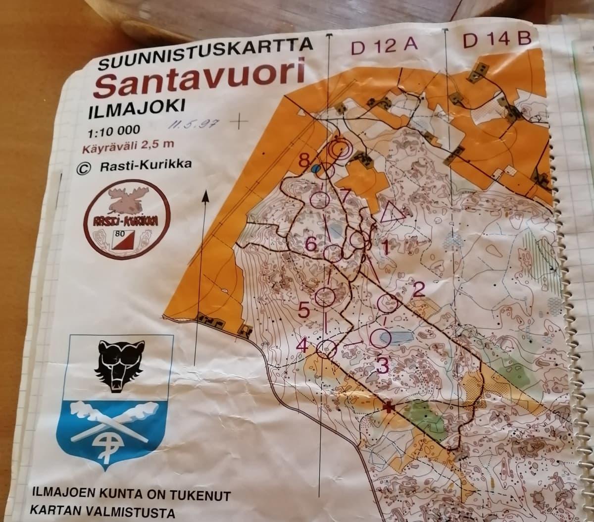 Suunnistuskartta 11.5.1997 kisoista Ilmajoelta.