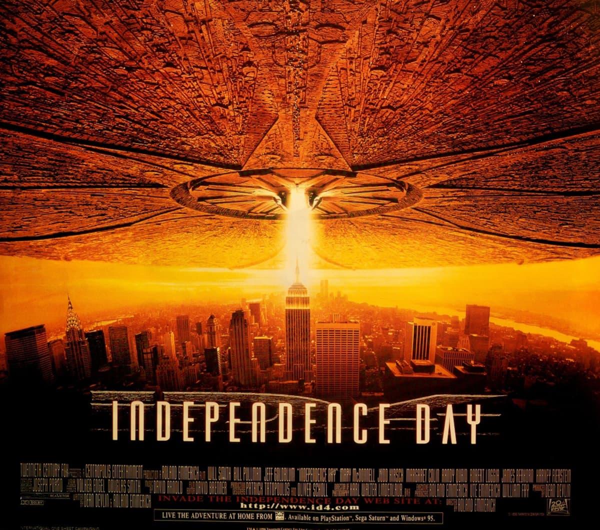Independence Day -elokuvan julisteessa valtava avaruusalus peittää New Yorkin taivaan.