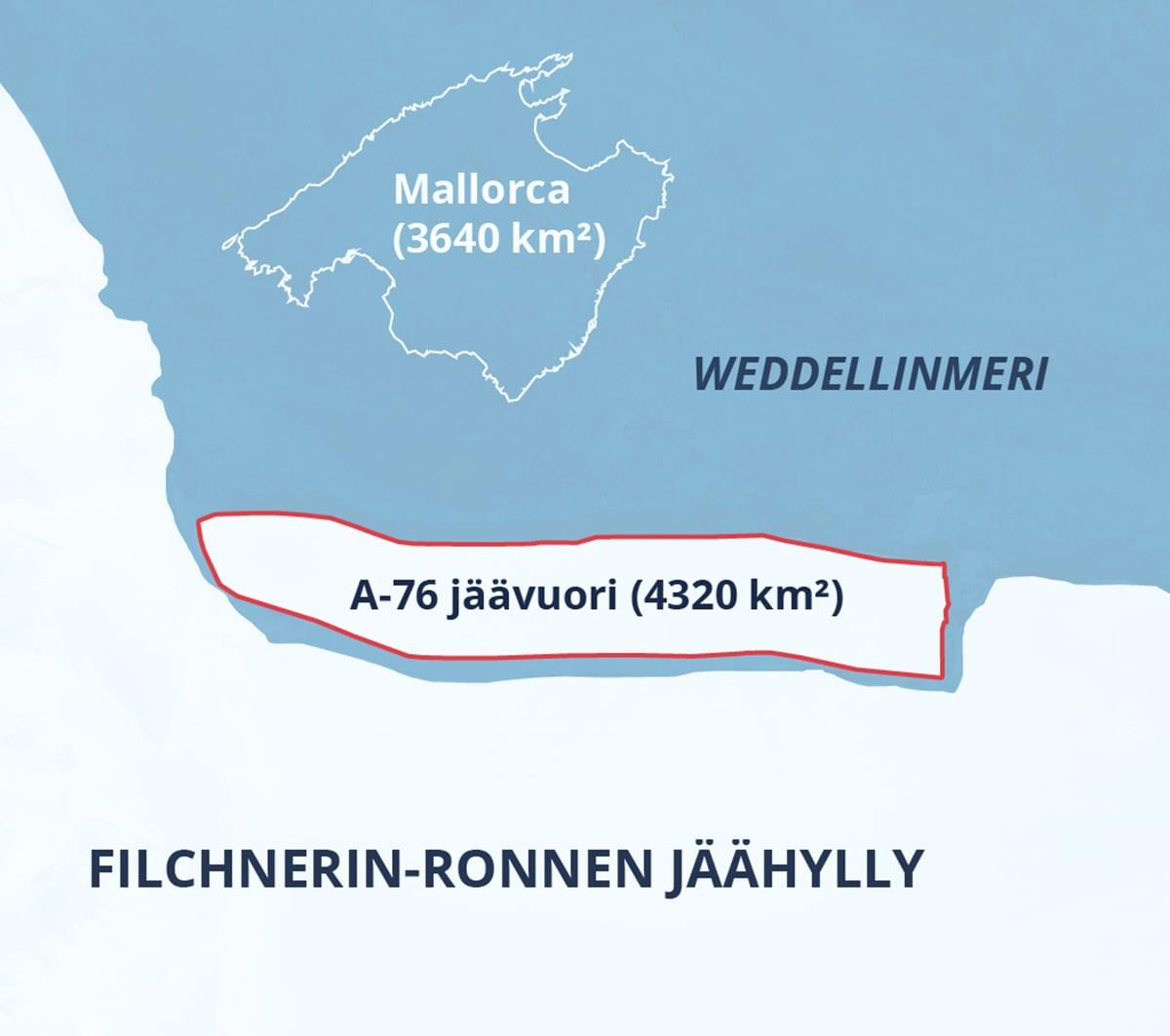 A-76 nimisen jäätikön pinta-ala on 4 320 neliökilometriä.