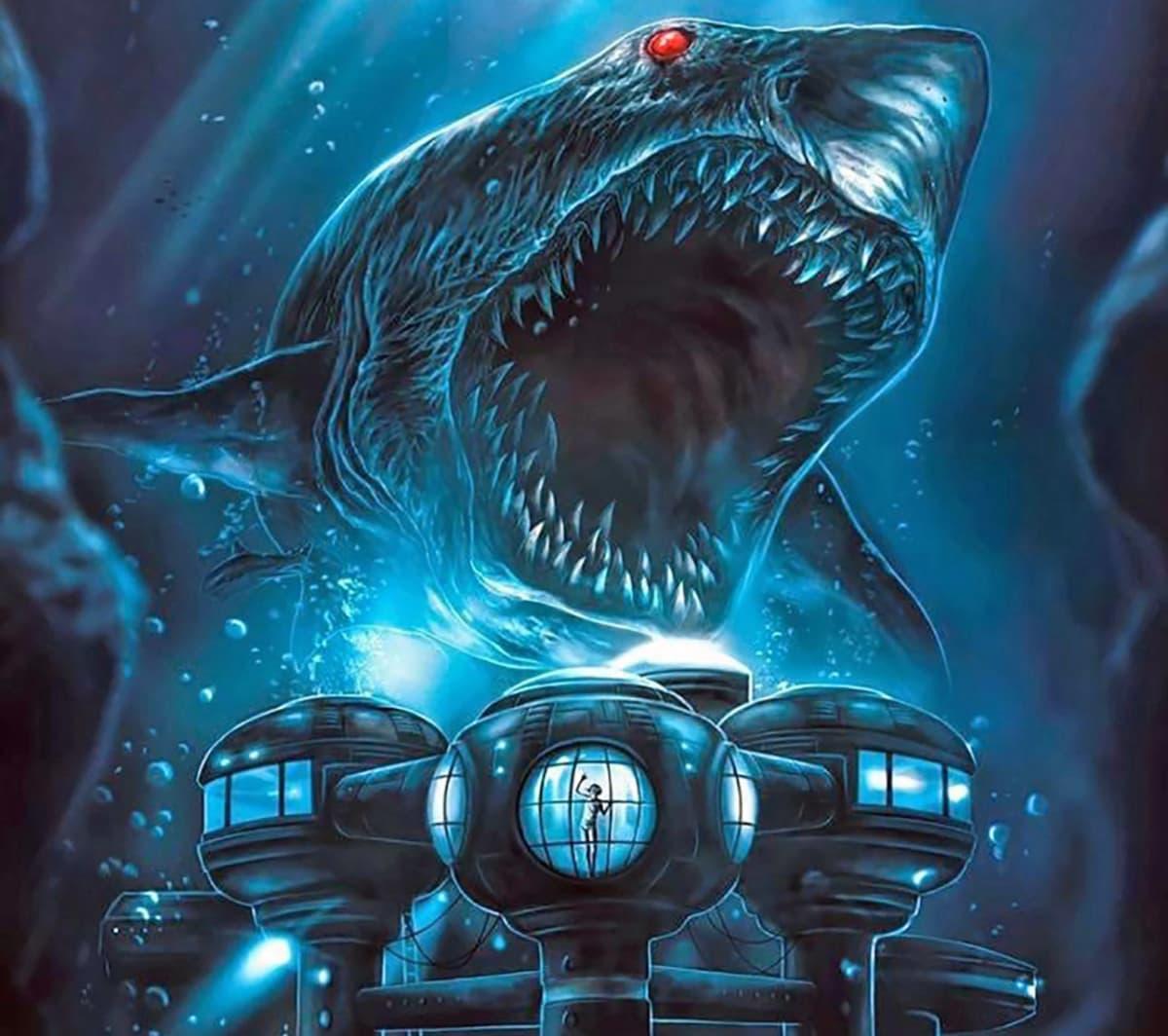 Jättiläismäinen punasilmäinen hai käy merenpohjaan rakennetun futustisen laboratorion kimppuun.