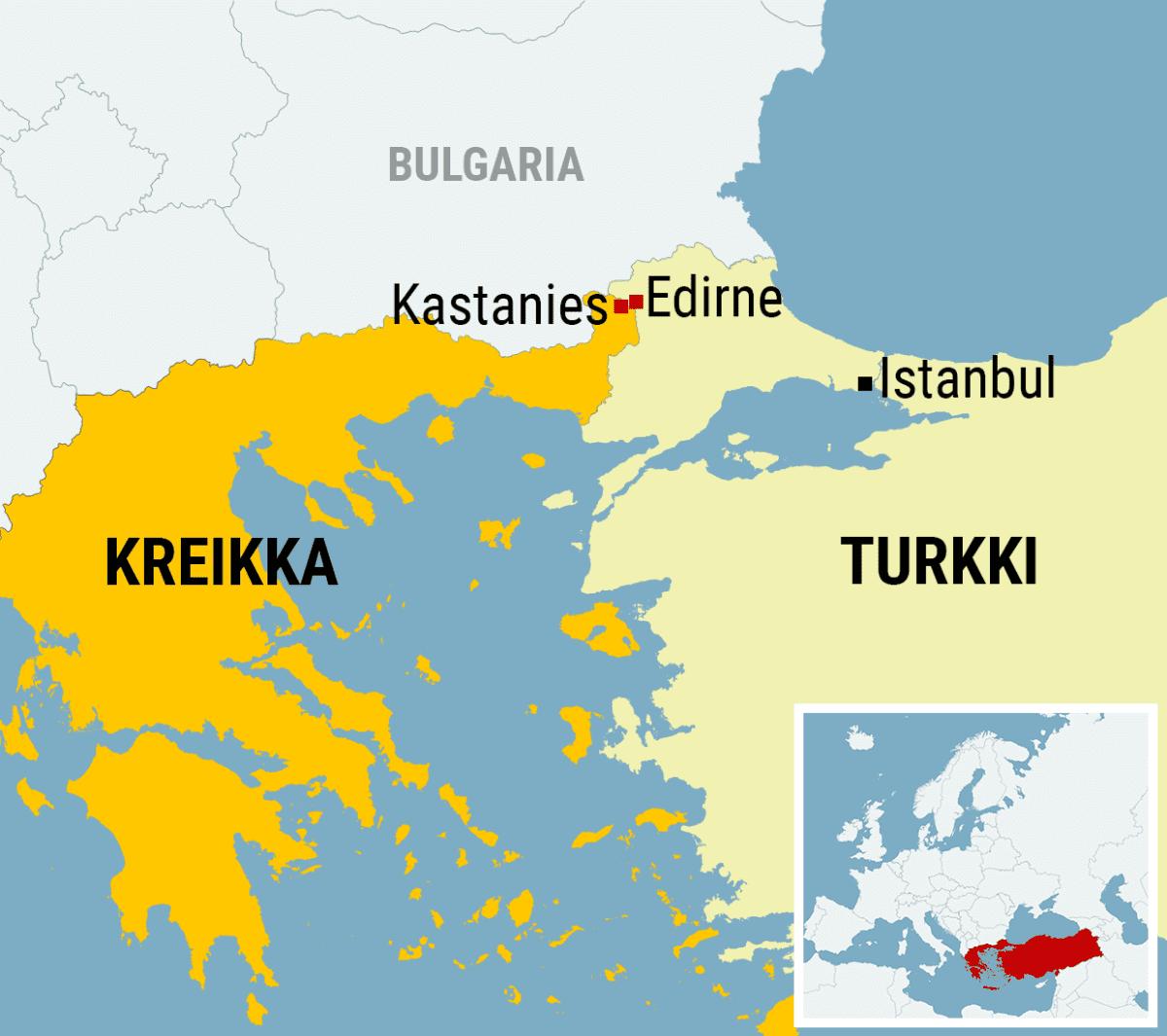 Kartta Turkin ja Kreikan rajalta