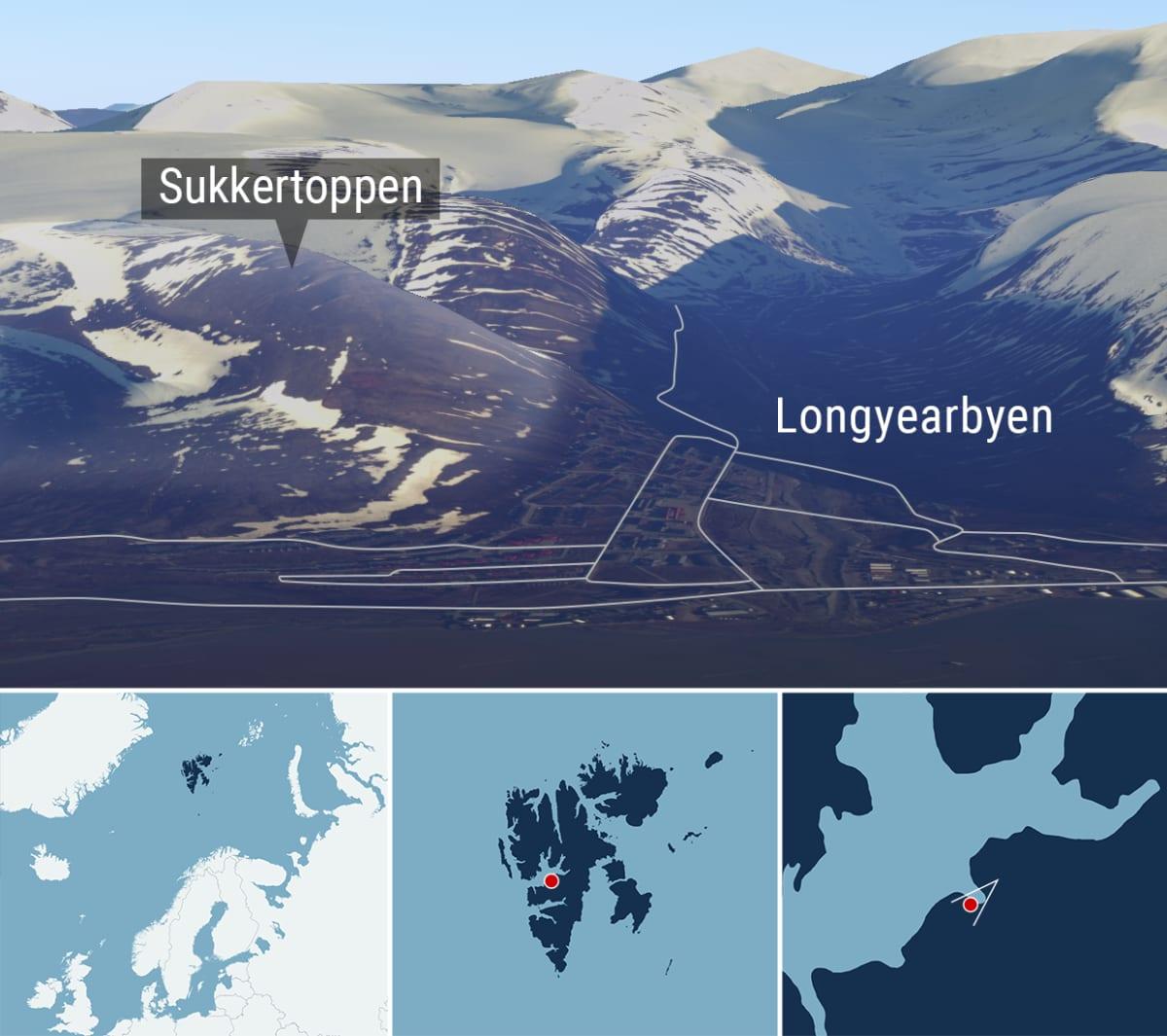 Kartta Sukkertoppen-vuoren sijainnista Longyearbyenin kylässä Huippuvuorilla.