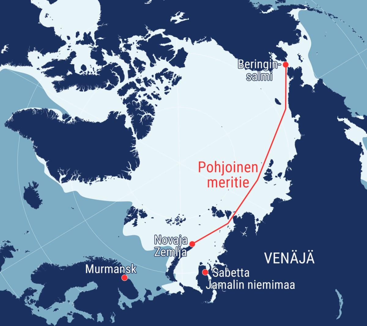Jäätilanne ja Pohjoinen meritie kartalla Pohjoisella napa-alueella.