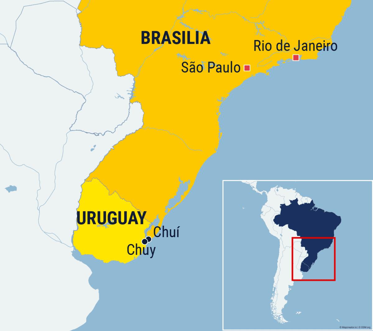 Kartta Uruguayn ja Brasilian rajakaupungeista.